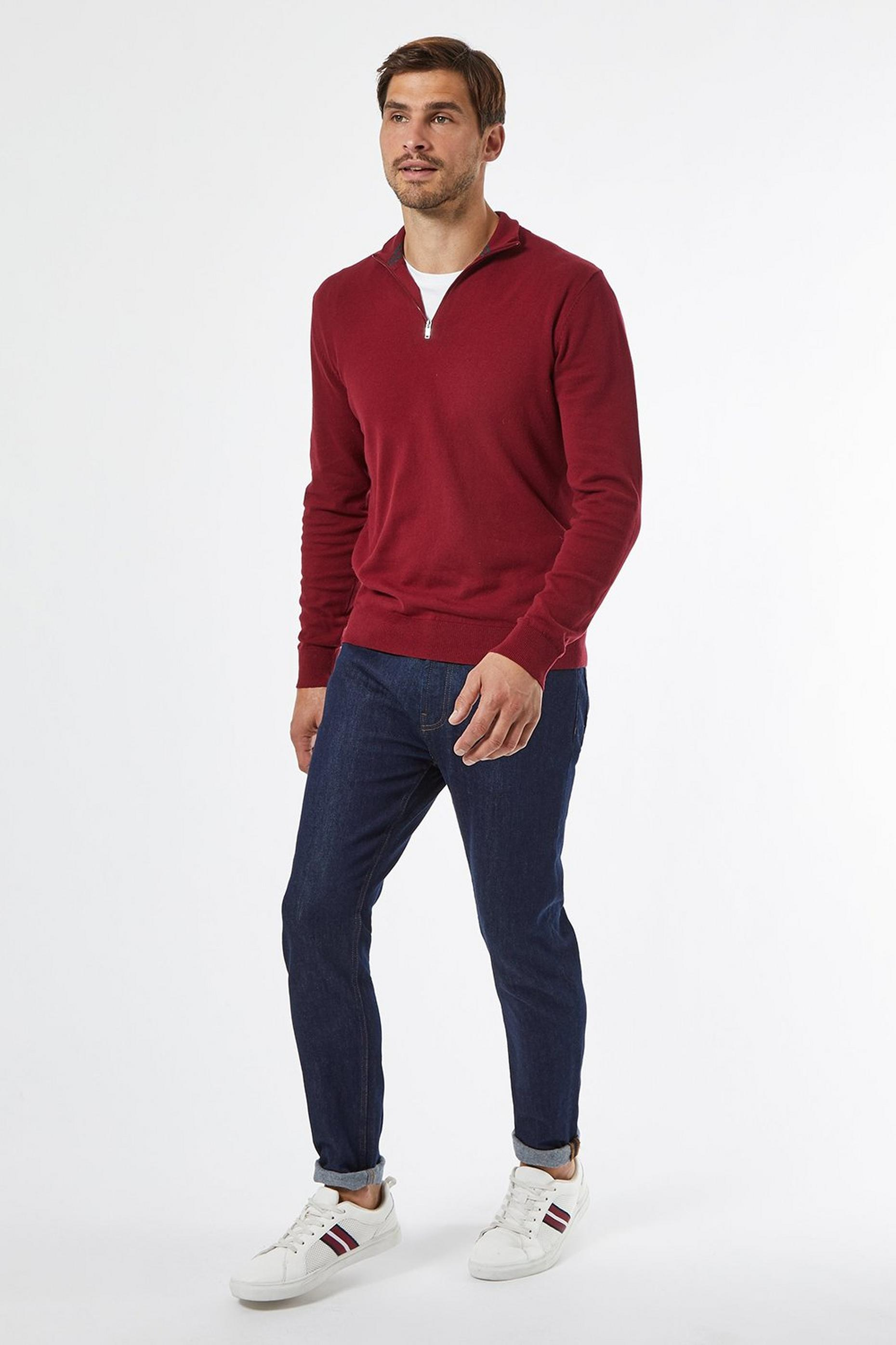 Rich Red Half Zip Jumper With Organic Cotton