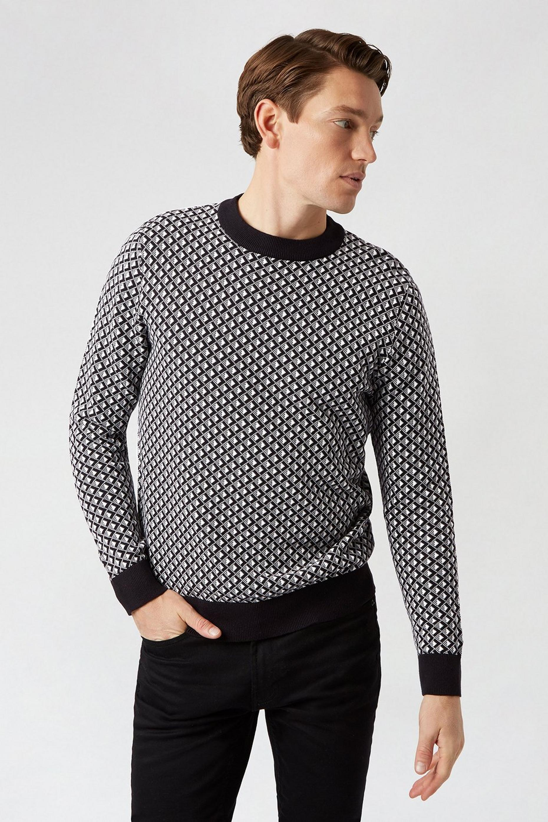 Black And White Geometric Pattern Jumper