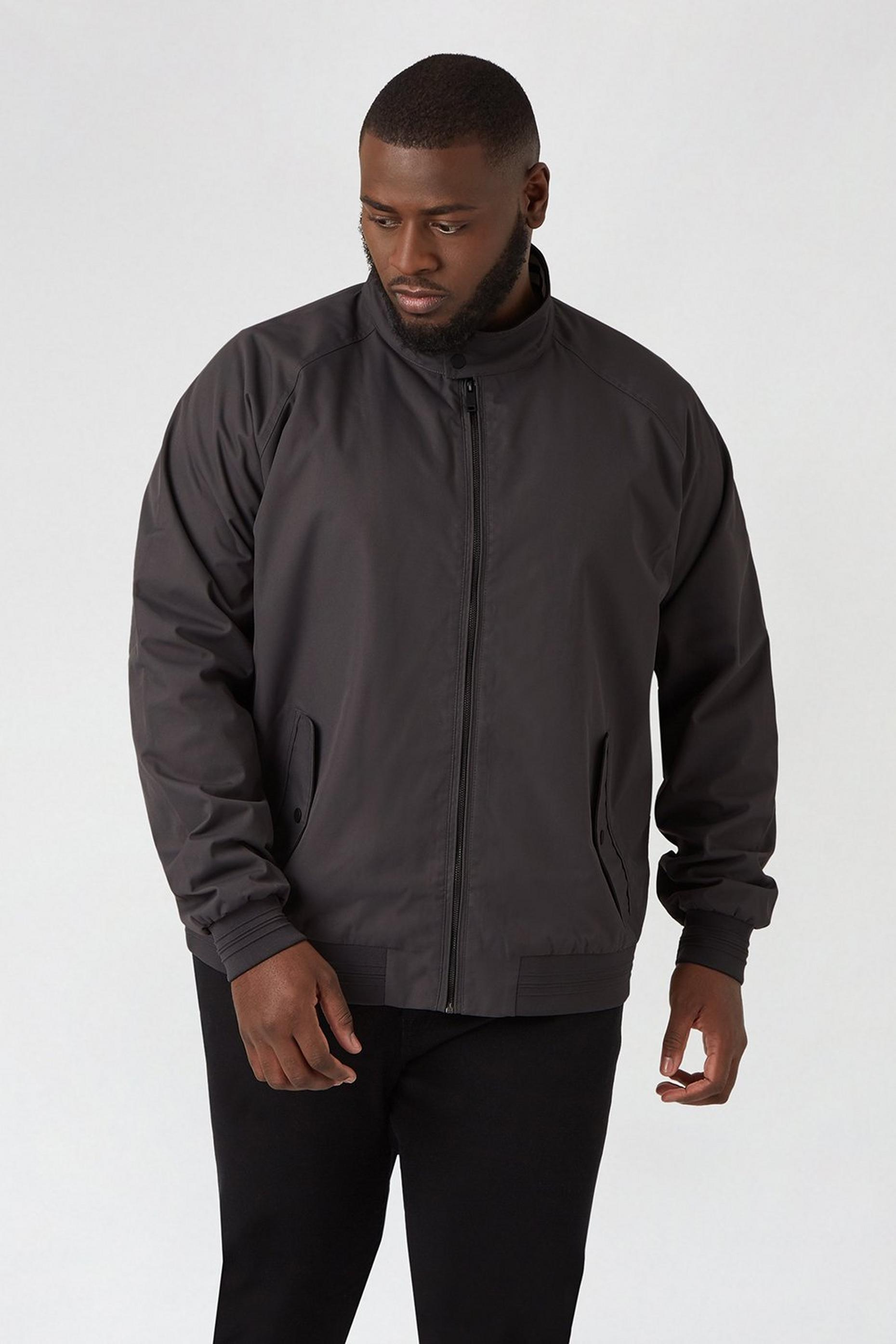 Plus And Tall Charcoal Harrington Jacket