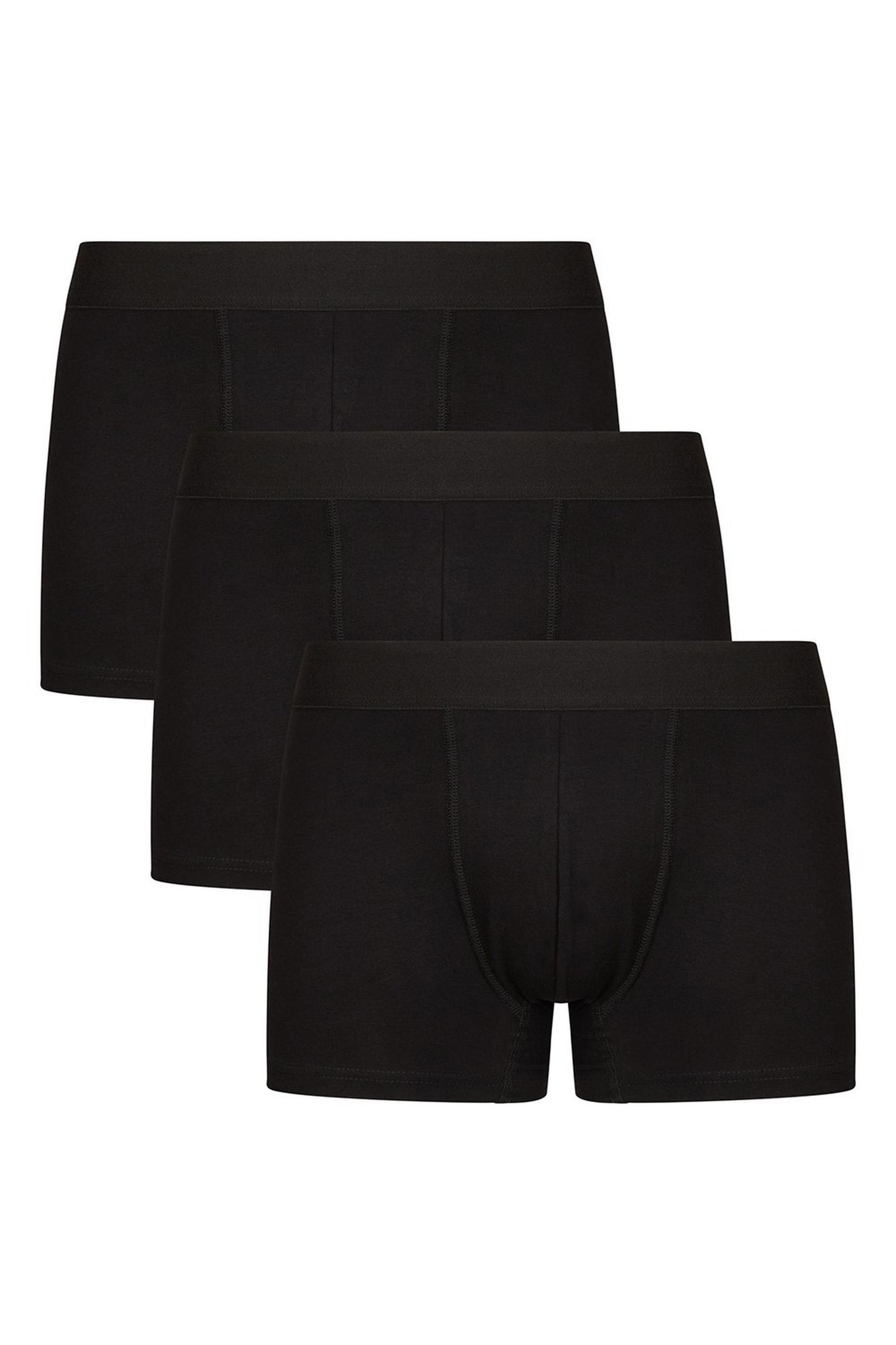 3 Pack Black Organic Cotton Trunks
