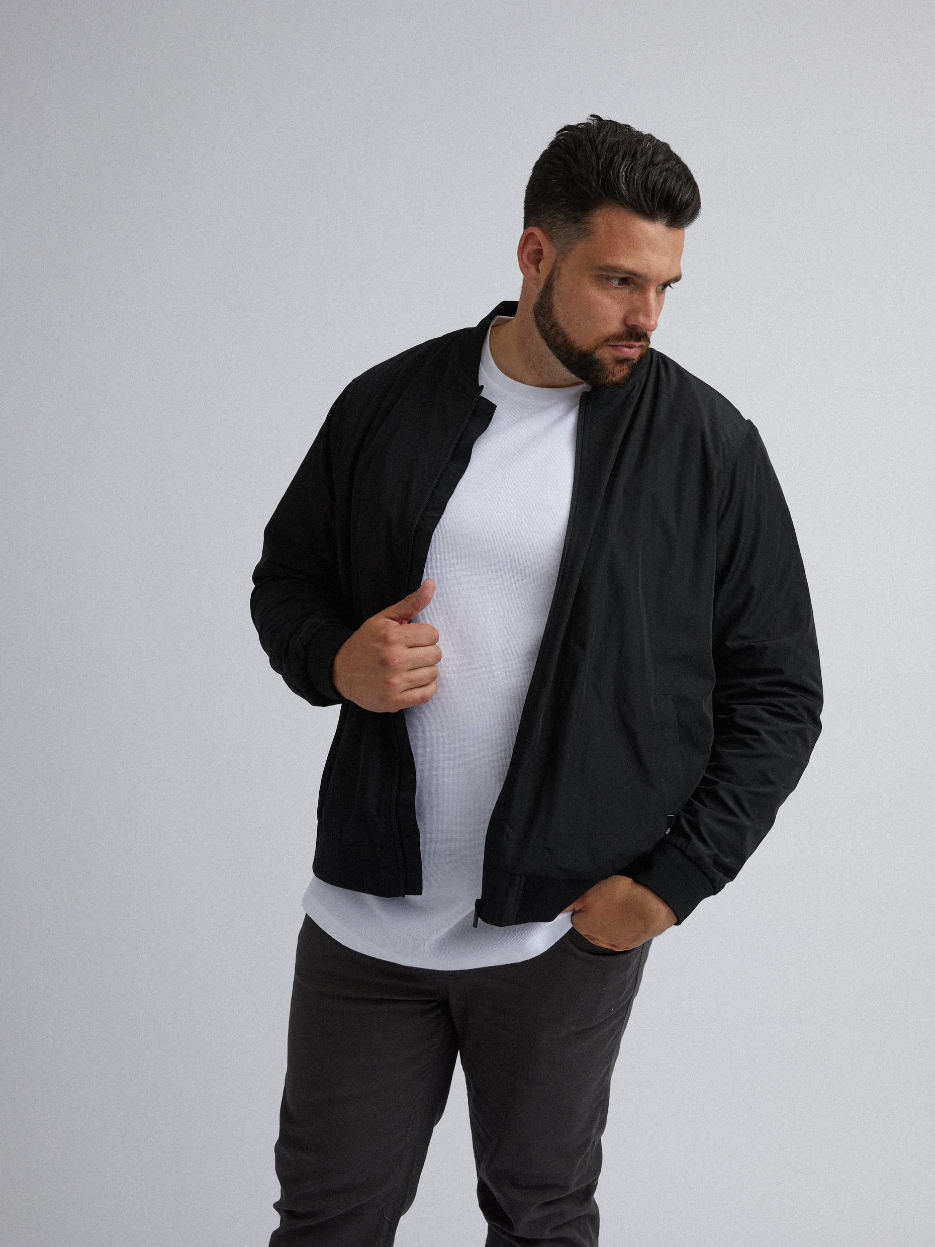 Plus and Tall Black Bomber Jacket