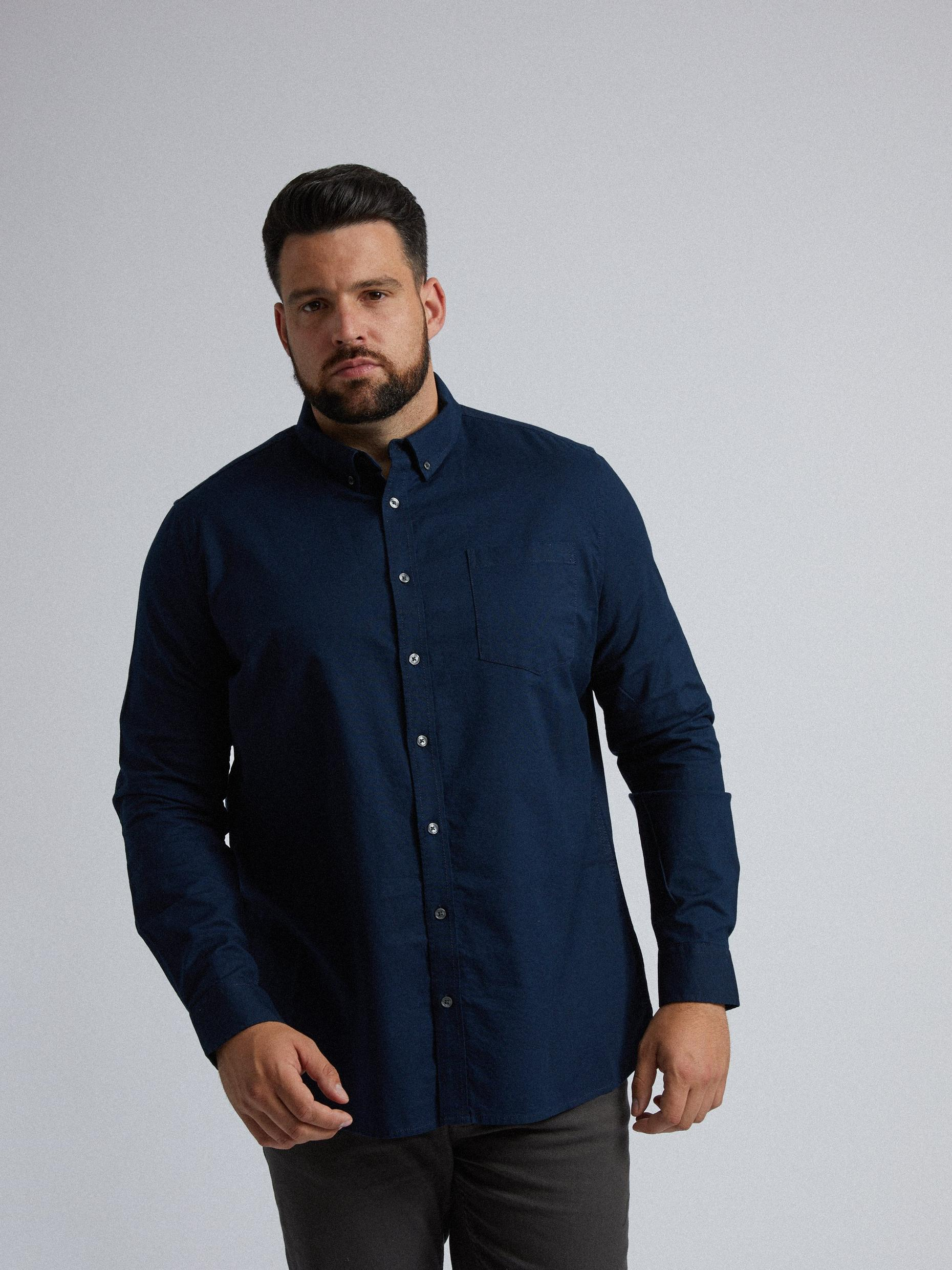 Plus and Tall Navy Long Sleeve Oxford Shirt