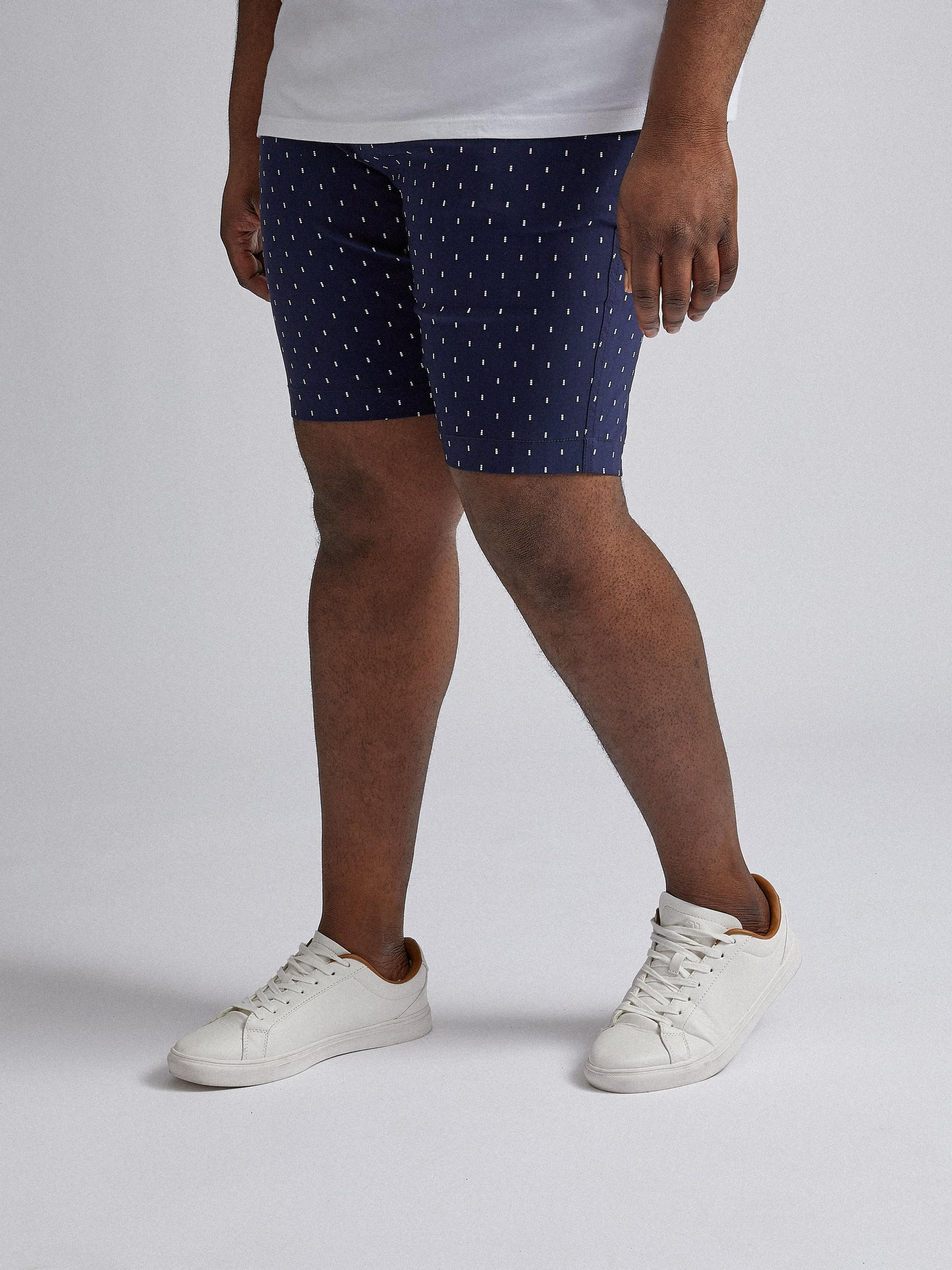 Plus and Tall Belted Navy Geo Shorts