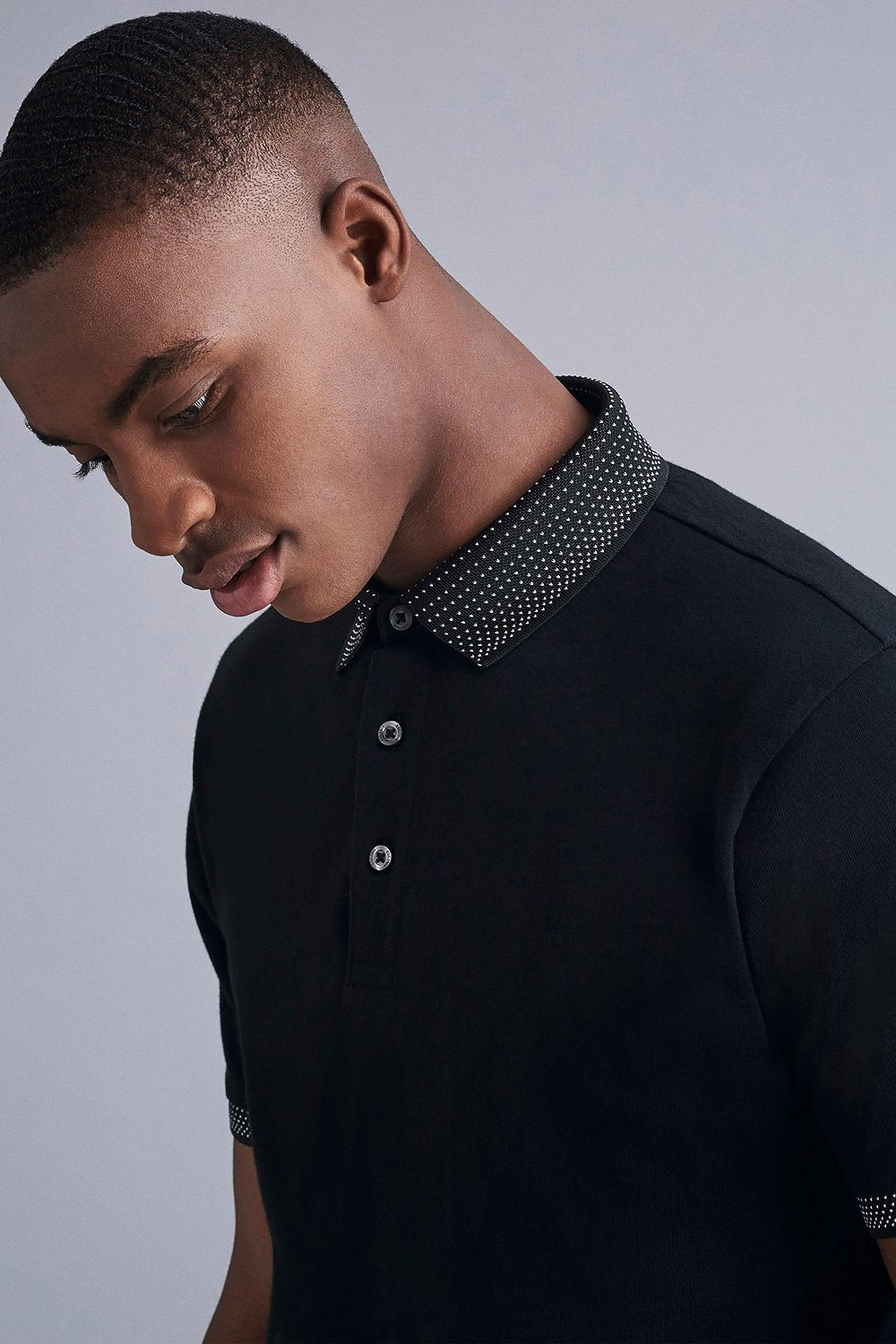 Black Jacquard Collar Polo Shirt