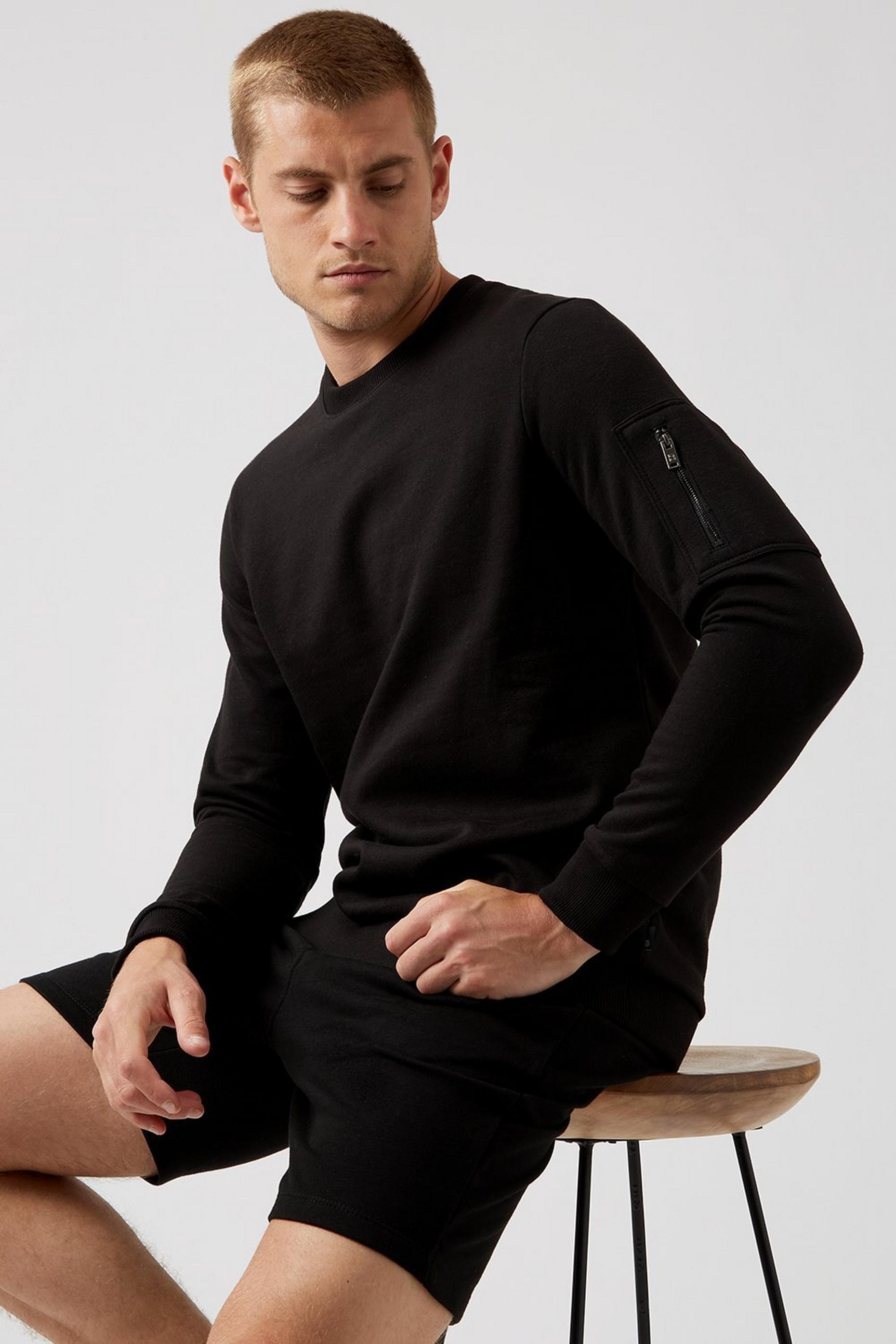 Black Cargo Zip Sweatshirt