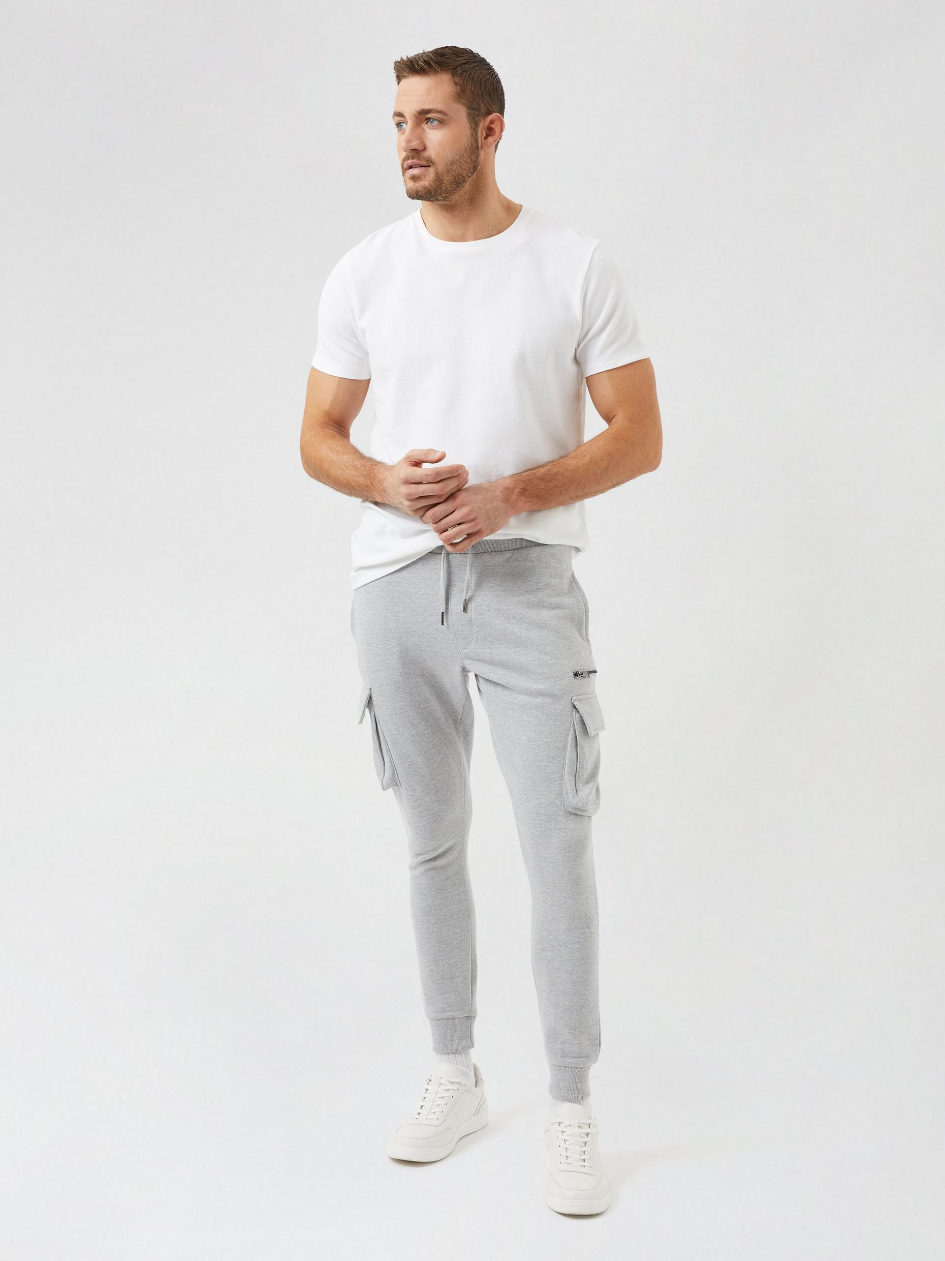 2 Pack Black and Grey Cargo Zip Joggers