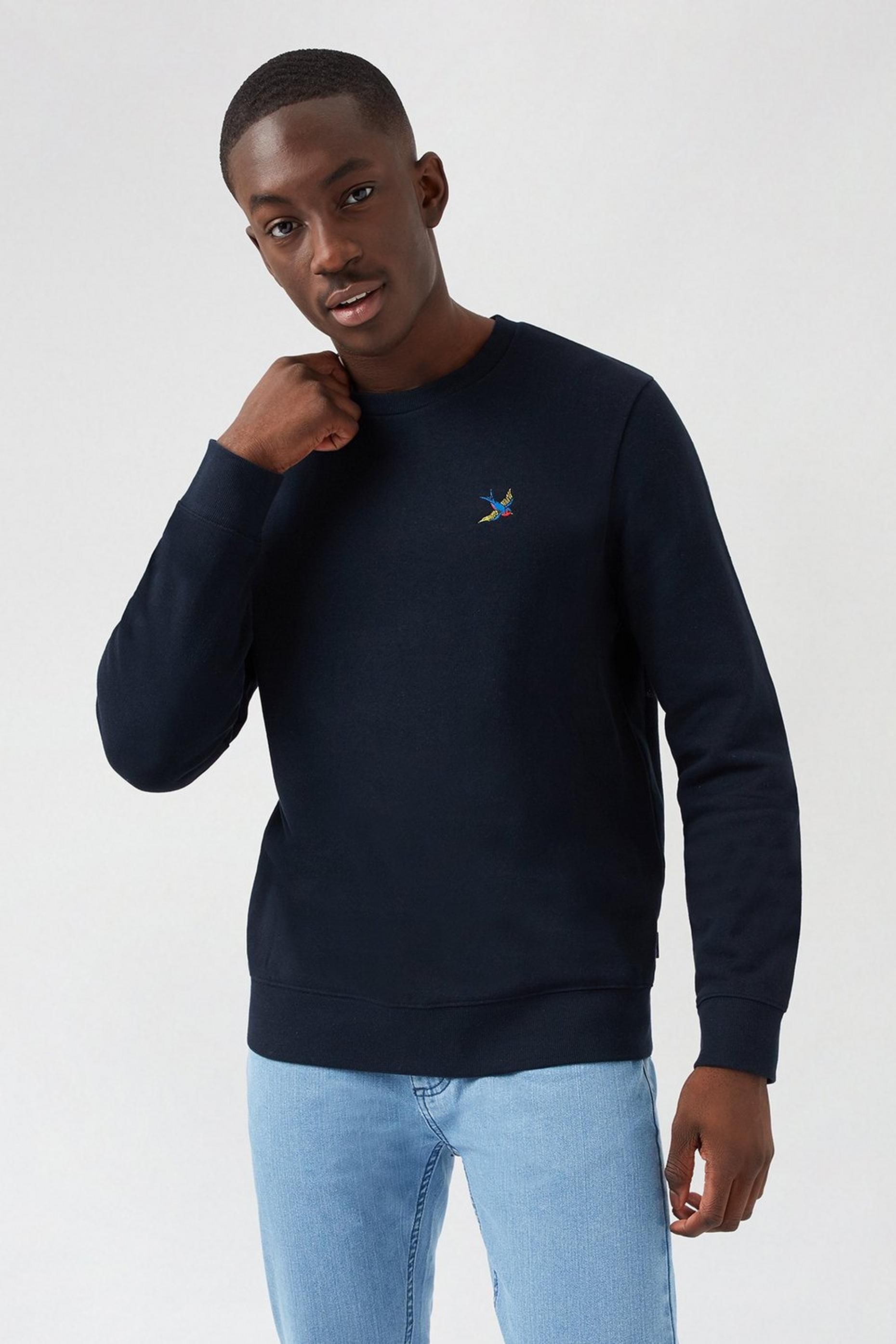 Navy Swallow Embroidered Sweatshirt