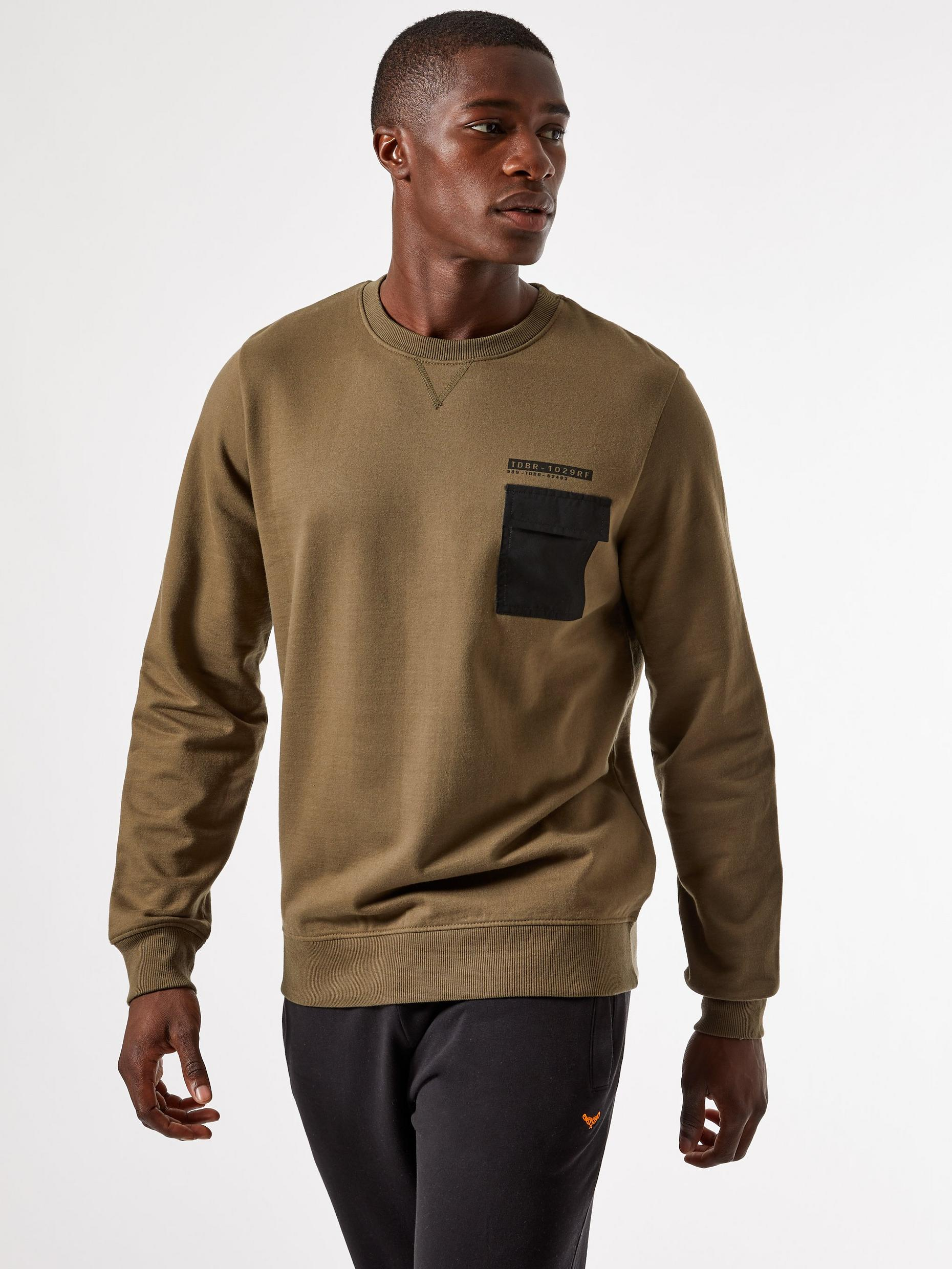 Khaki Fleece Utility Sweatshirt