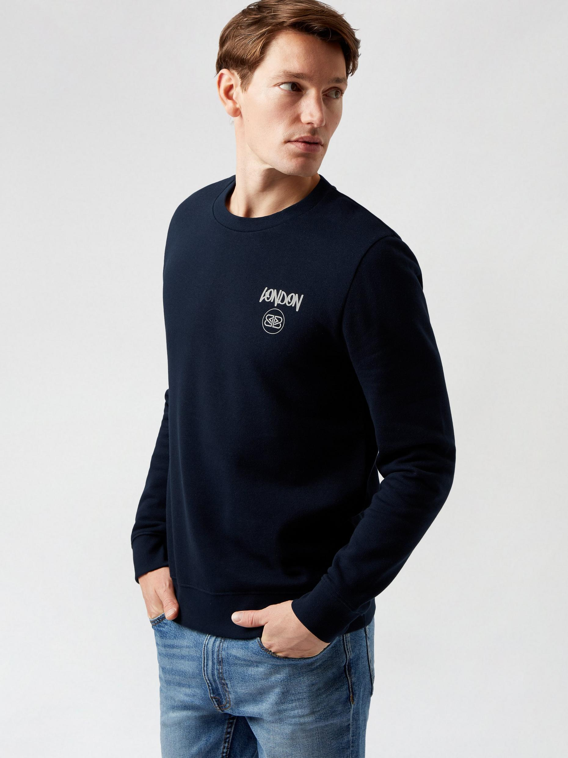 Navy London Graphic Sweatshirt