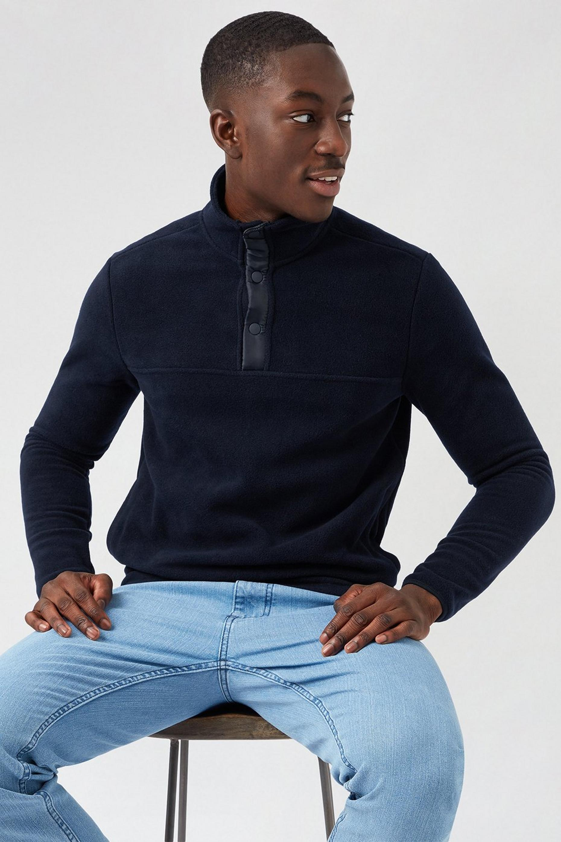 Navy Fleece Popover Funnel Neck Sweatshirt