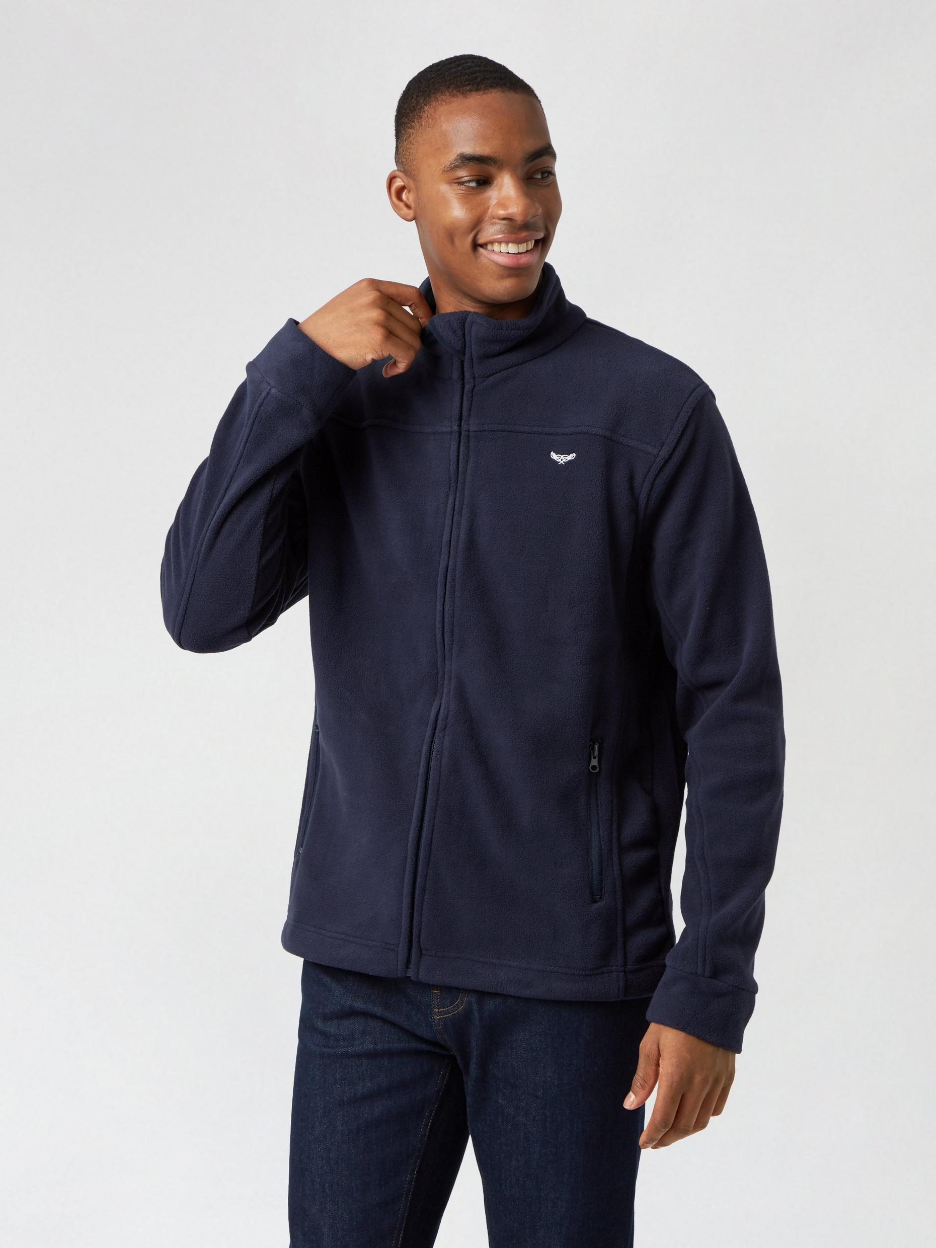 Navy Fleece Zip Through Funnel Neck Hoodie