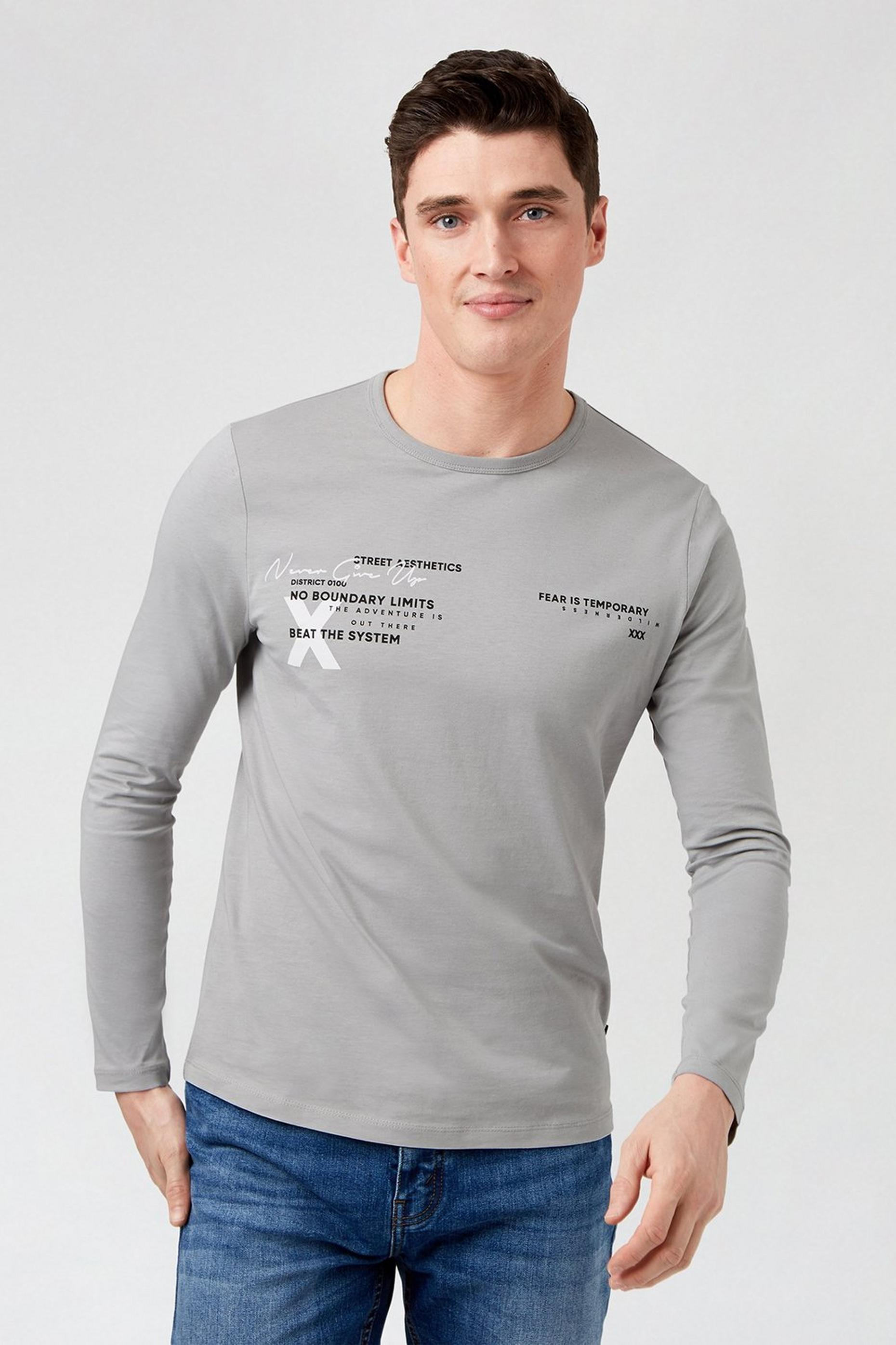Grey Graphic Long Sleeved TShirt