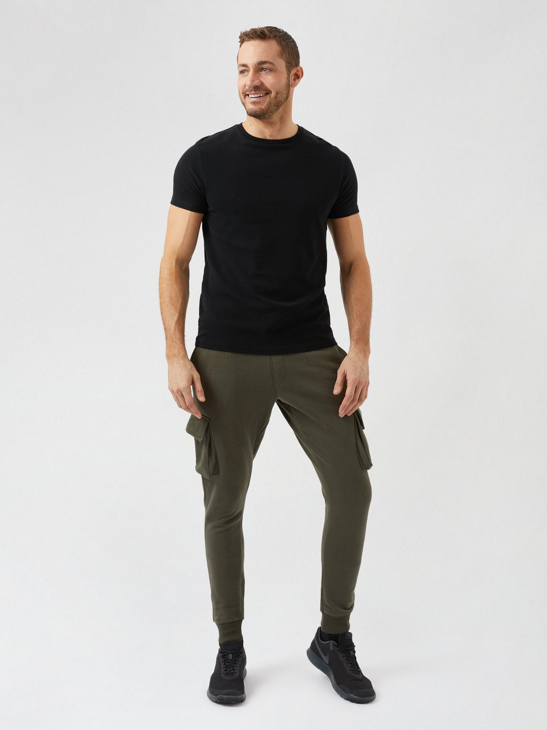 2 Pack Khaki and Charcoal Cargo Joggers