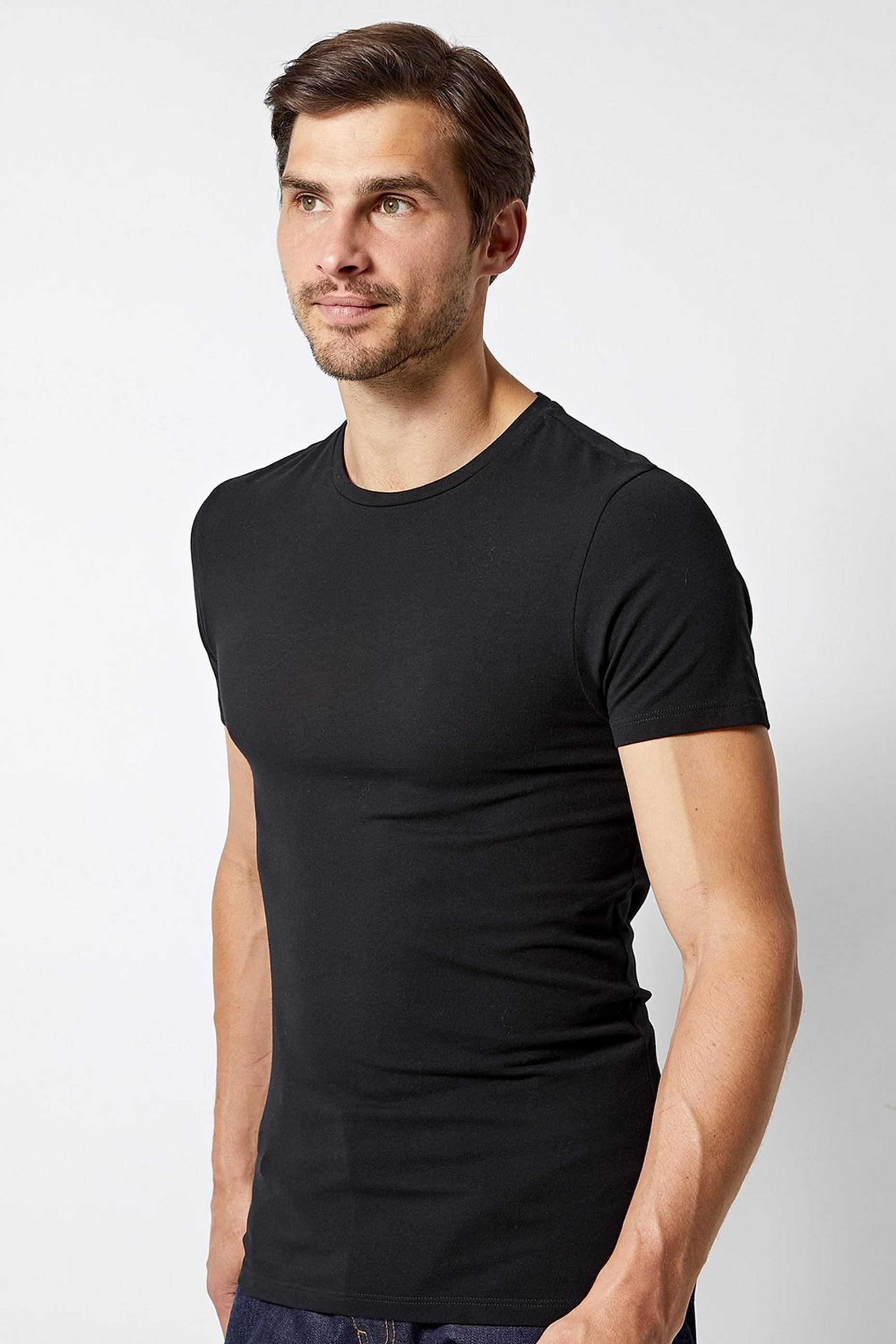 Black Muscle Fit Crew Neck T Shirt