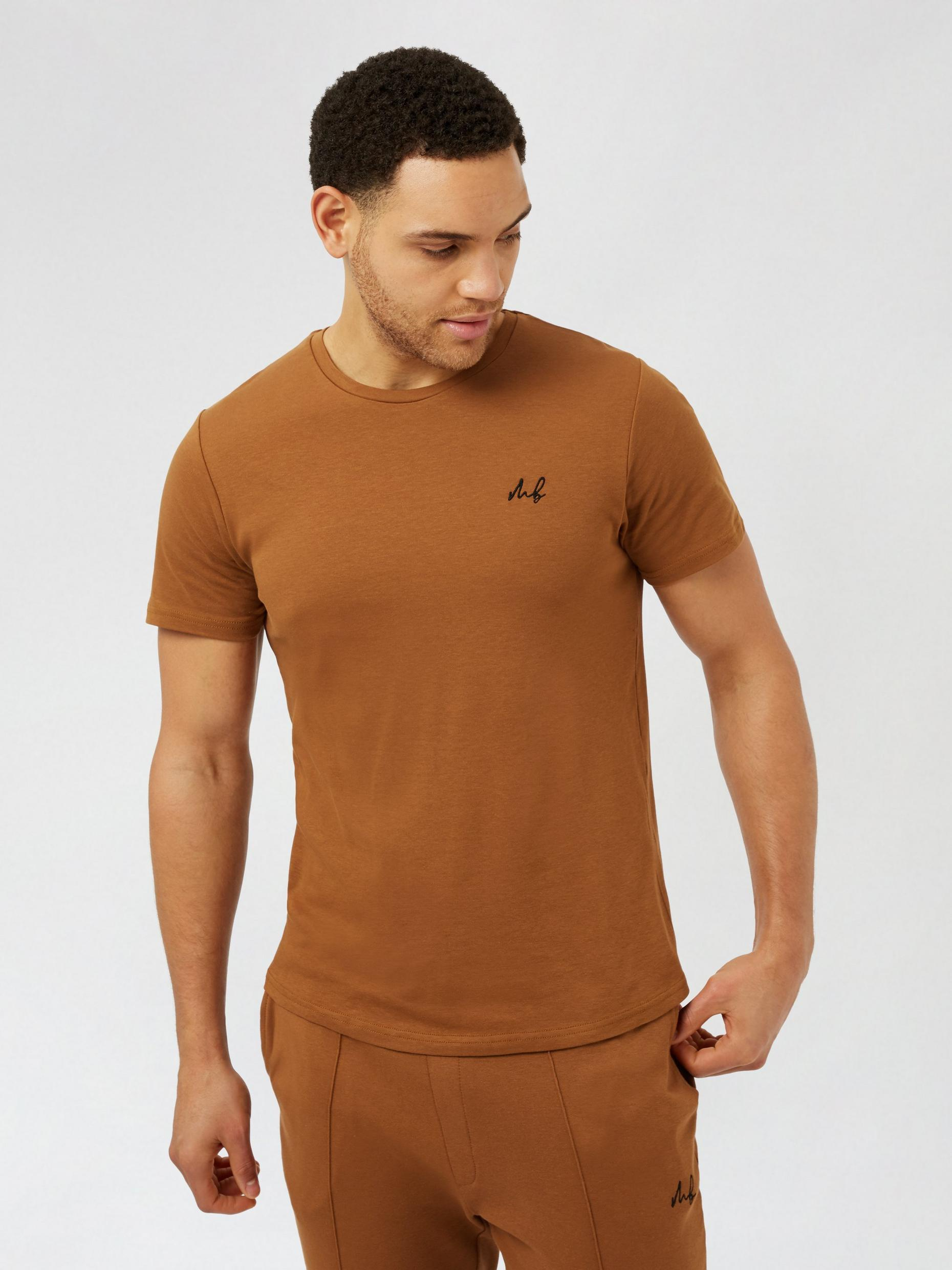 MB Brown Curve Embroidered Tee