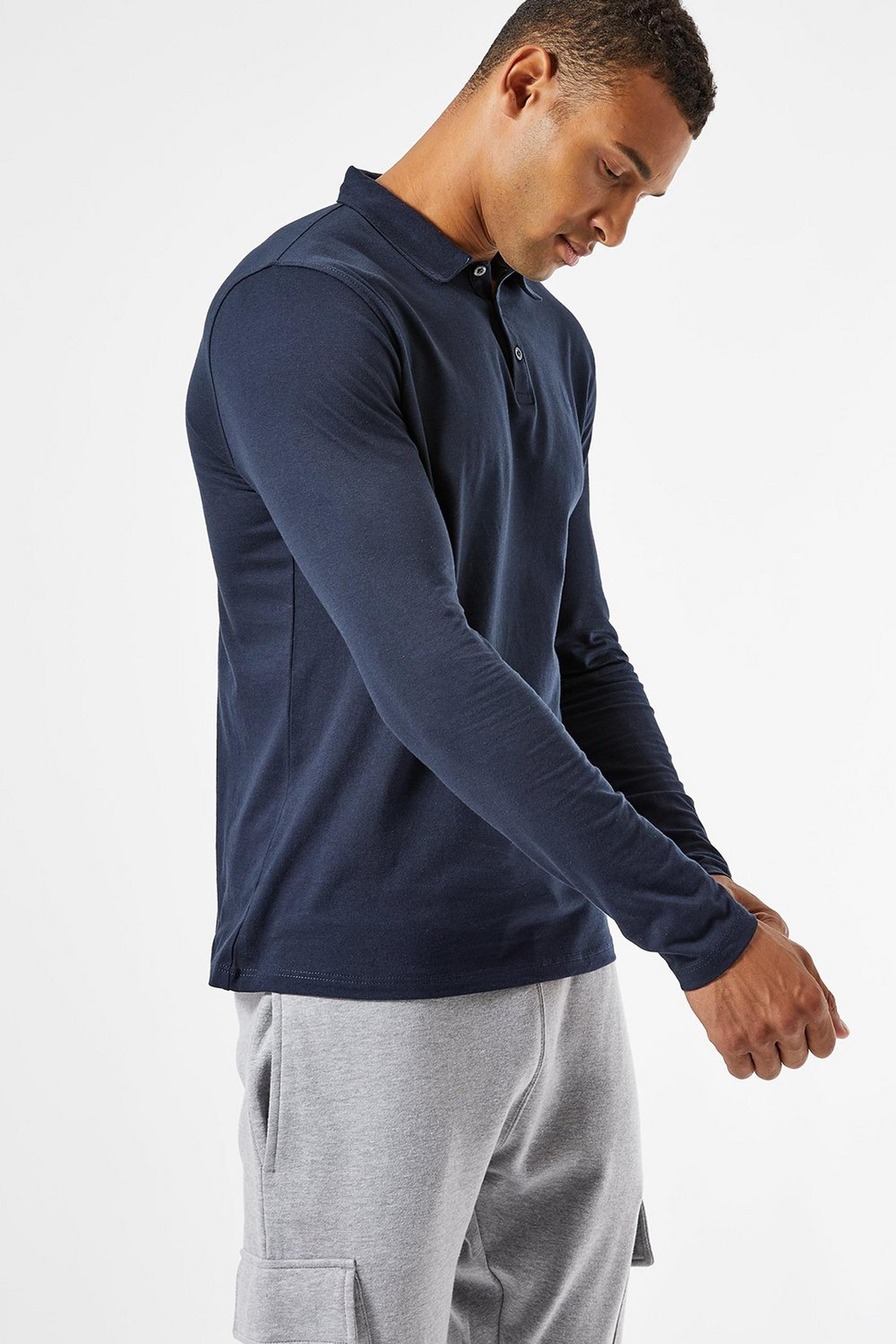 Navy Long Sleeved Polo Shirt