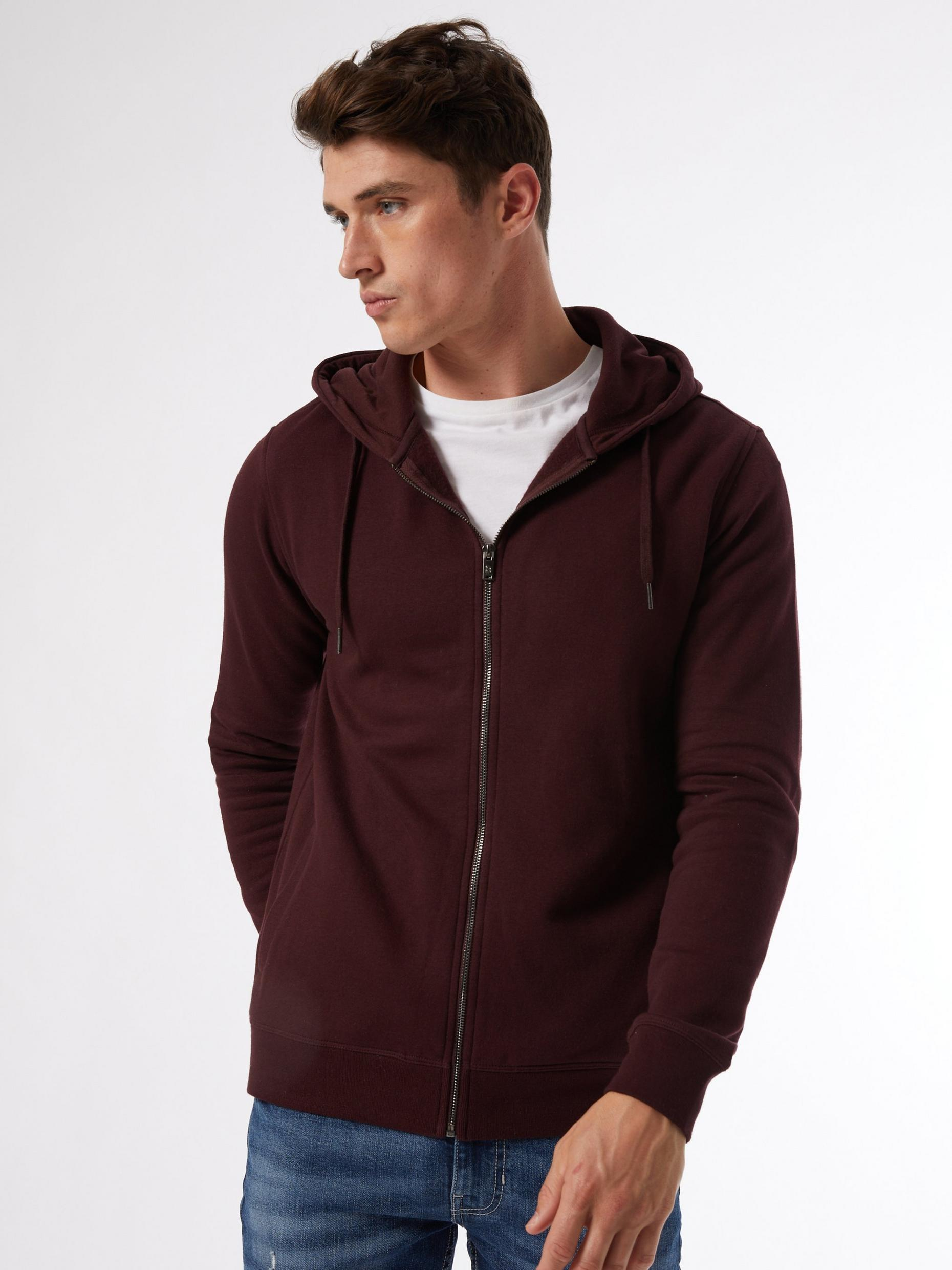 Burgundy Zip Through Hoodie
