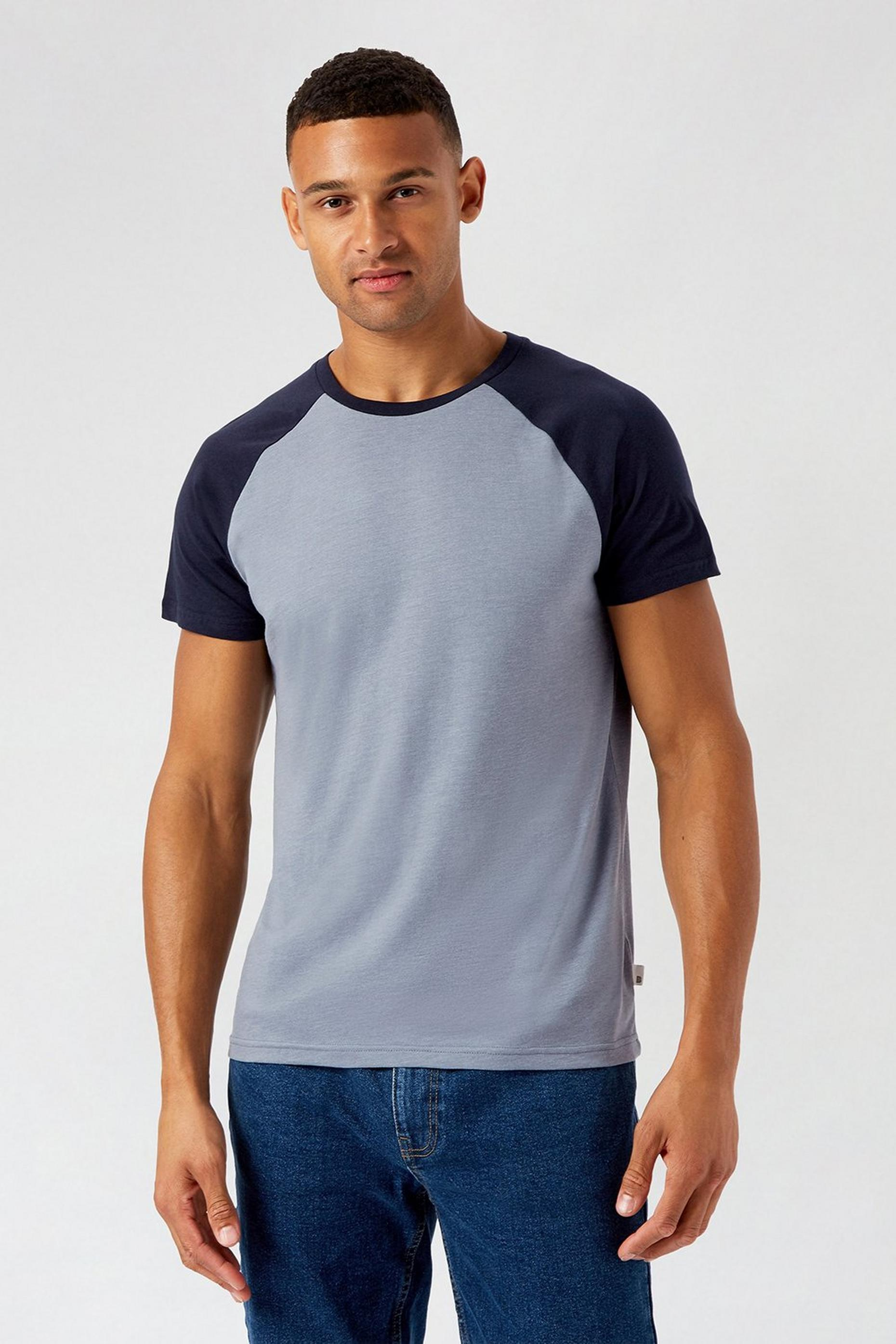 Blue and Navy Organic Raglan T Shirt