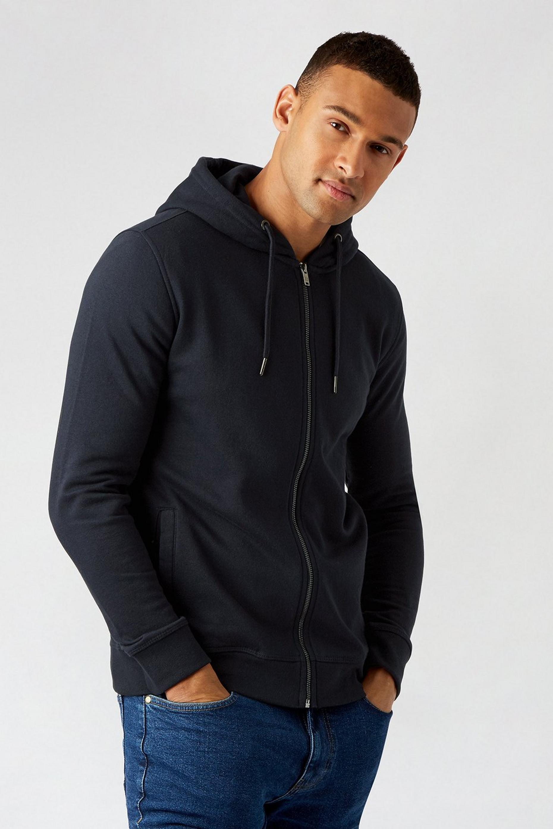 2 Pack Navy And Burgundy Zip Through Hoodies