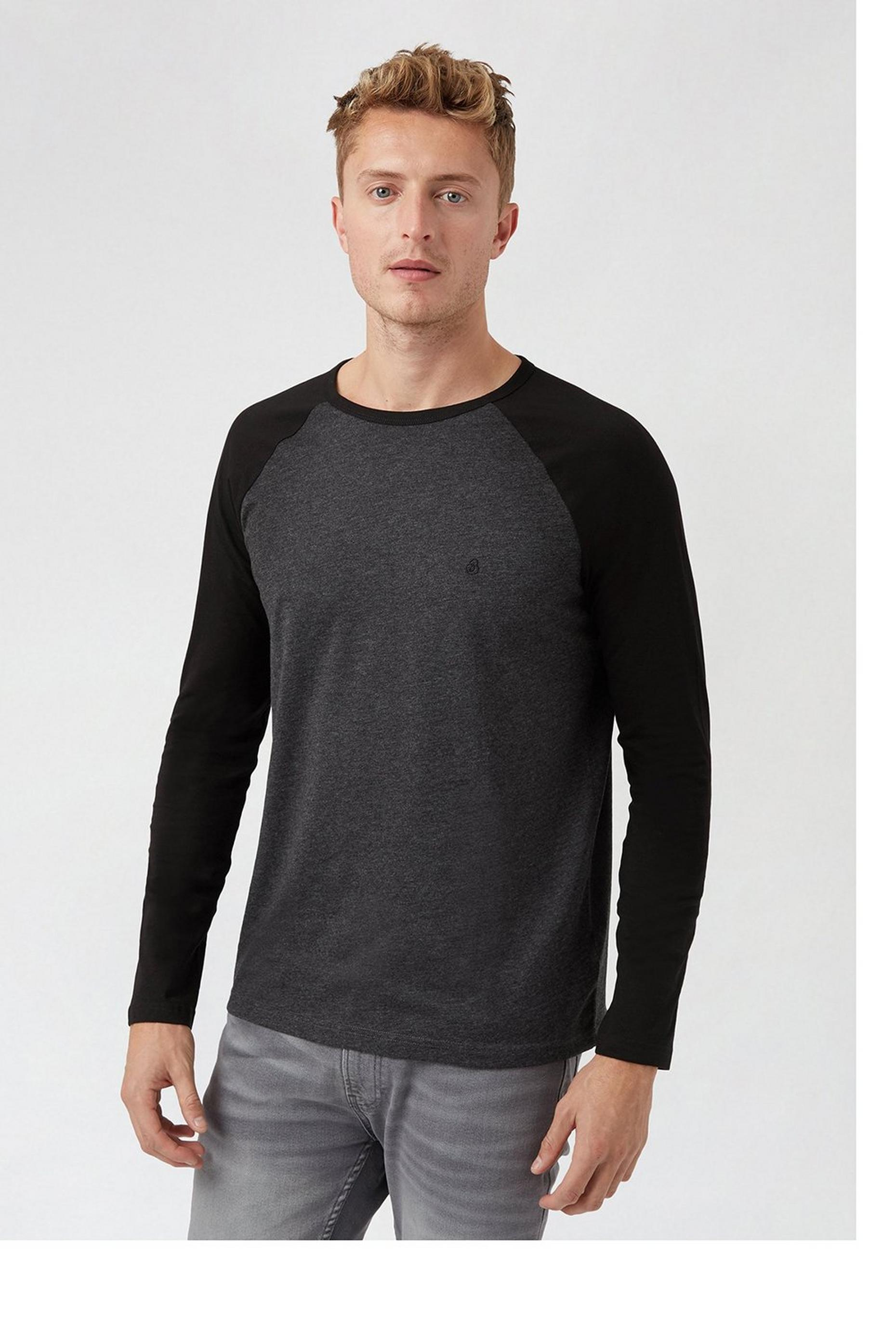Black Marl Long Sleeve Organic Raglan