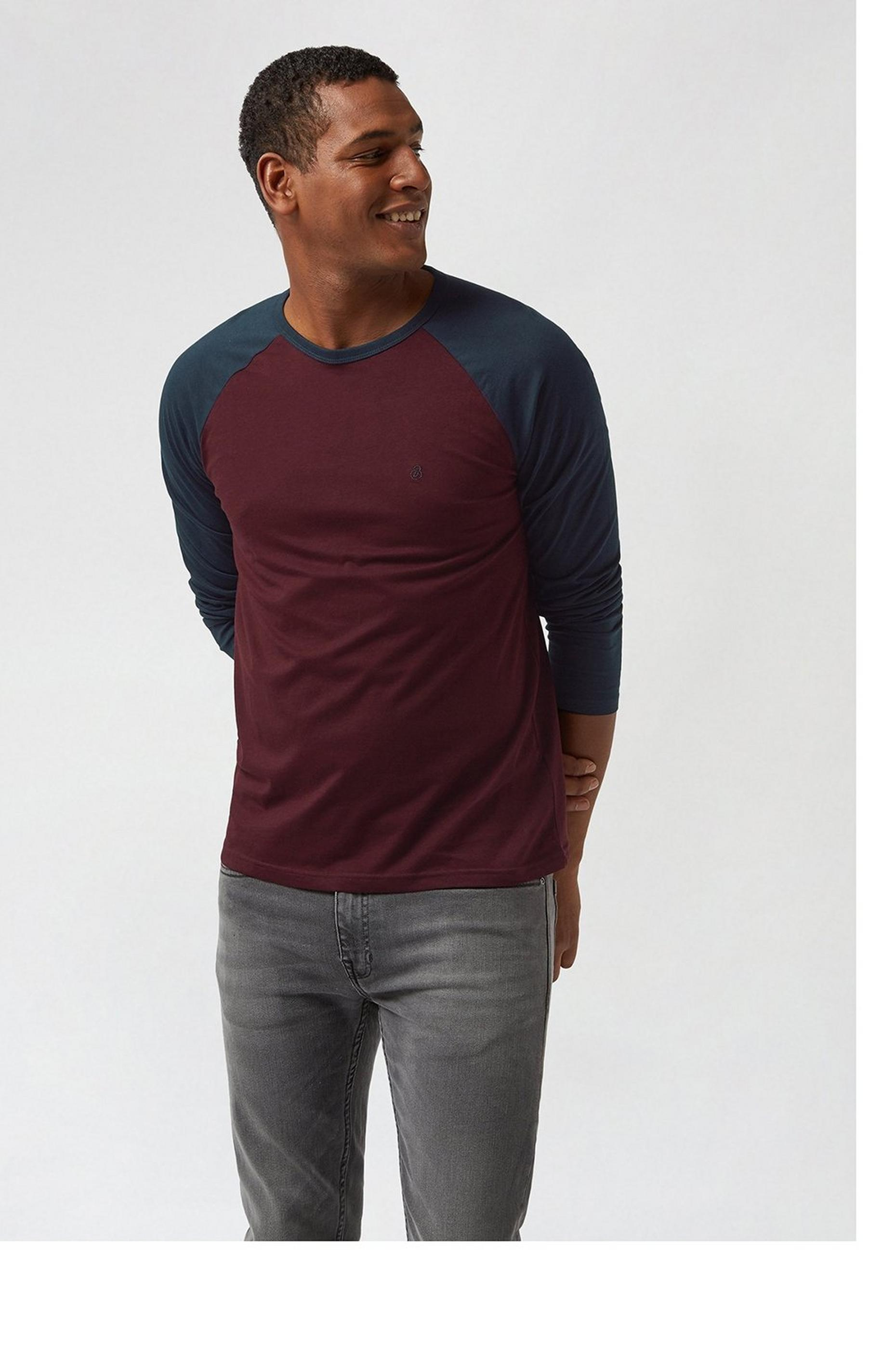 Long Sleeve Burgundy Raglan Tshirt