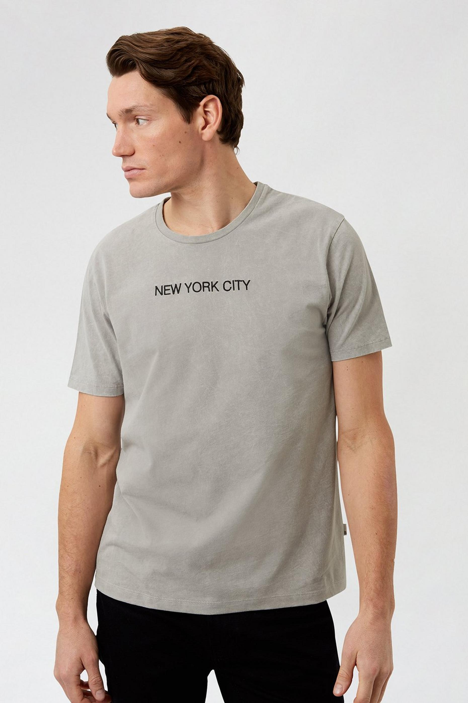 Washed Grey NYC Embroidered T Shirt