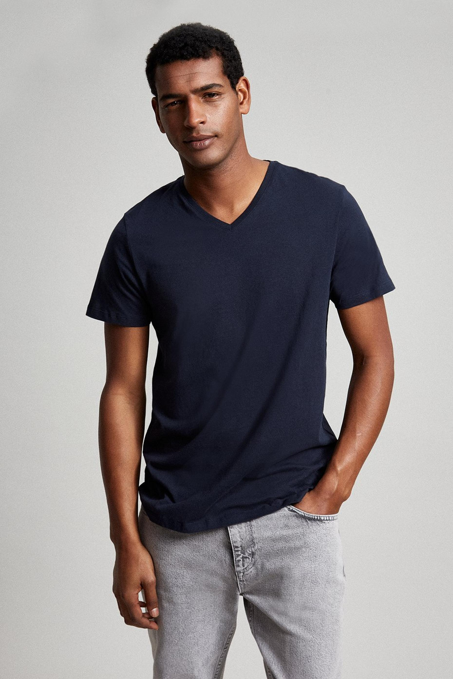 Navy Organic V Neck T Shirt