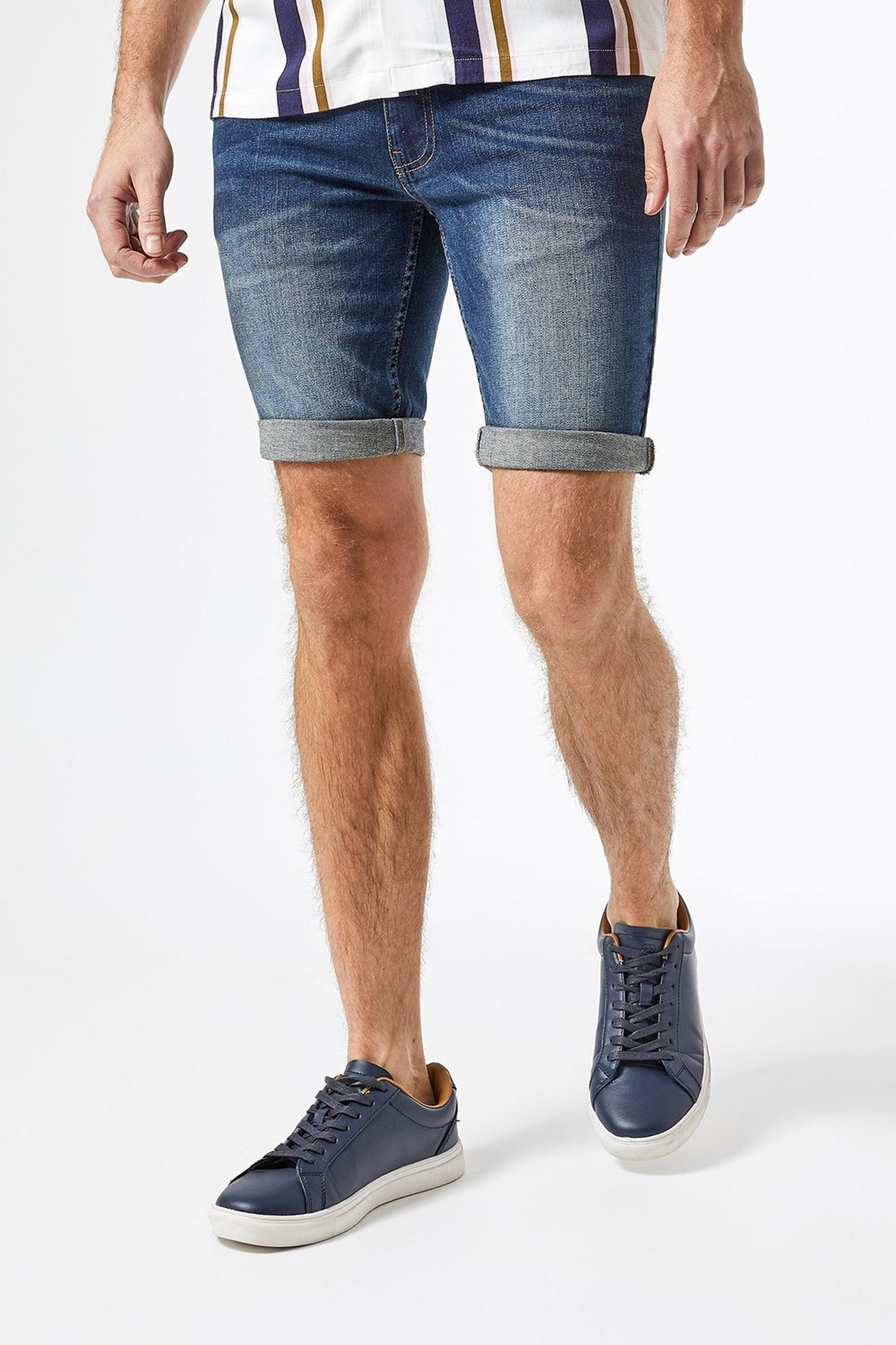 Mid Blue Denim Shorts