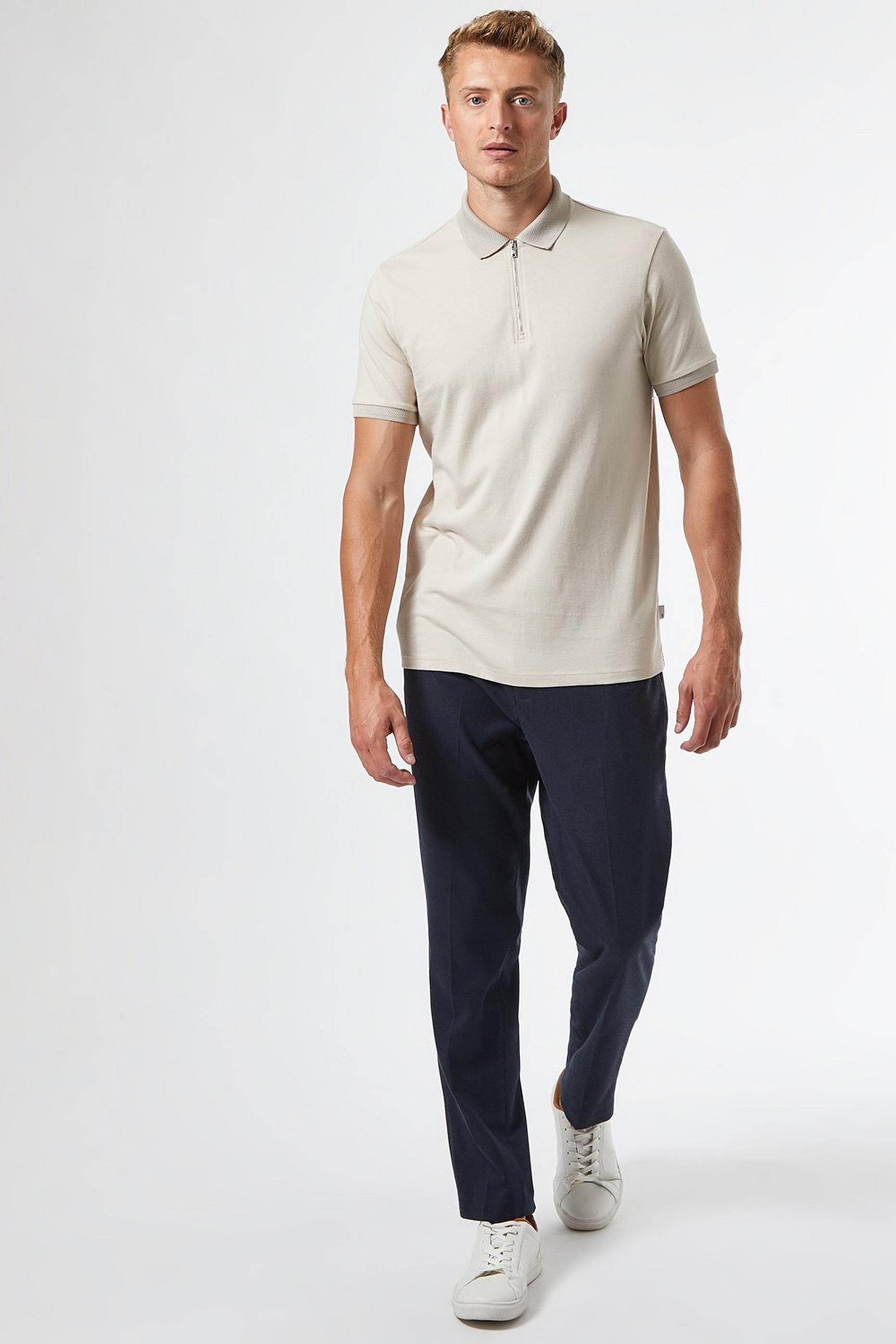 Ecru Zip Neck Polo Shirt