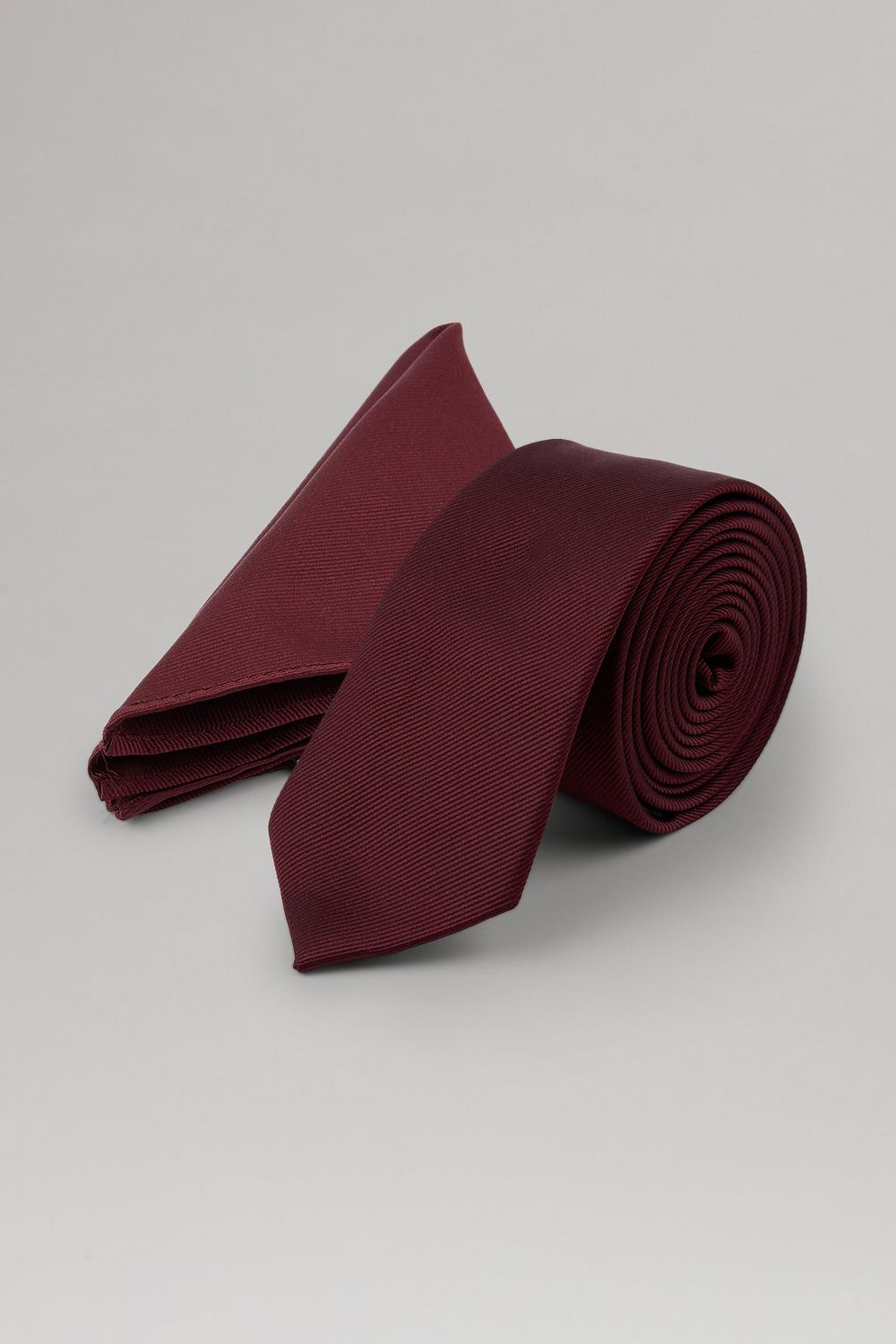 Dark Burgundy Tie, Pocket Square Set