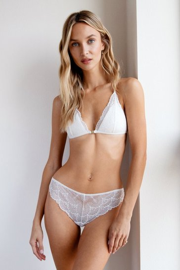 White Lacey Sundays Strappy Bralette and Panty Set