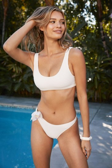 Cream Square Neck Textured Bikini Top