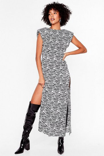 Black Get Wild Shoulder Pad Midi Dress