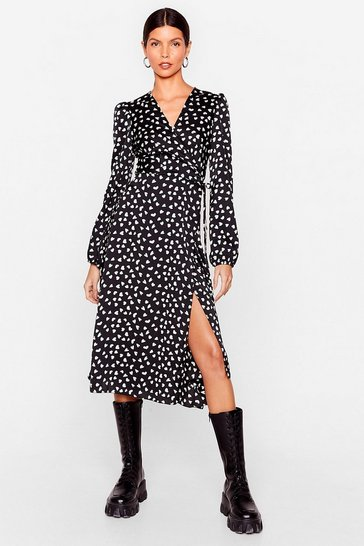 Black Heart Long Sleeve Midi Wrap Dress
