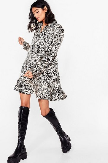 Brown Satin Leopard Print Long Sleeve Mini Dress