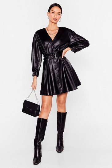 Black Can't Belt Fallin' in Love Faux Leather Mini Dress