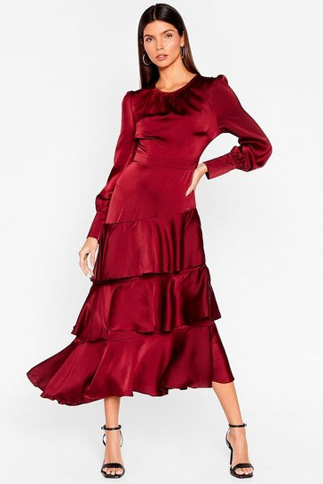 Wine Crocodile Tiers Satin Maxi Dress