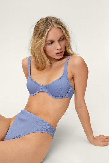 Powder blue Ribbed Underwire High Waisted Bikini Set