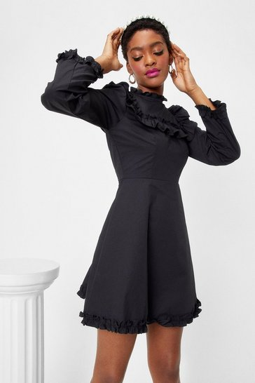 Black High Neck Ruffle Mini Dress