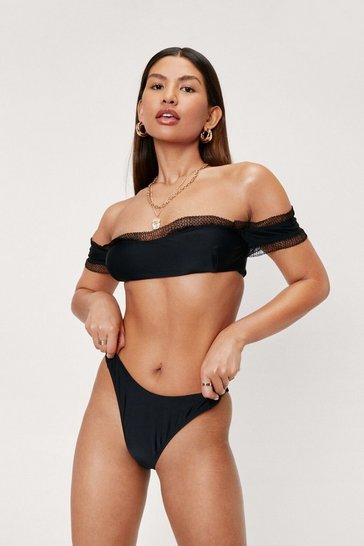Black Ruffle Off the Shoulder High Leg Bikini Set