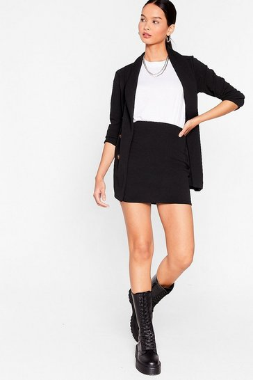 Black Longline Double Breasted Blazer