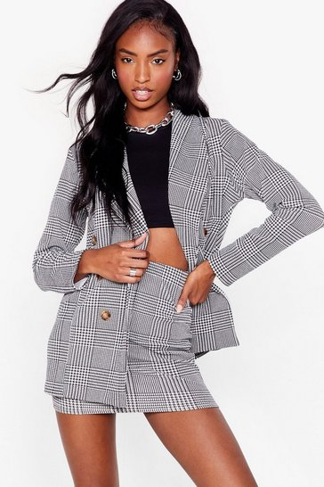Black We Houndstooth Love Double Breasted Blazer