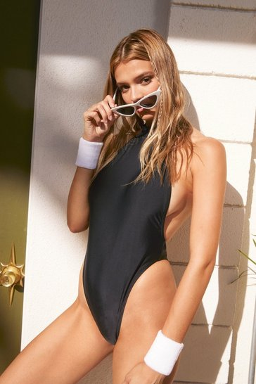 Black We Sea Everything Halter High-Leg Swimsuit