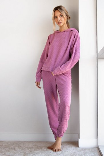 Mauve Recycled Quilt Making Plans Hoodie Lounge Set