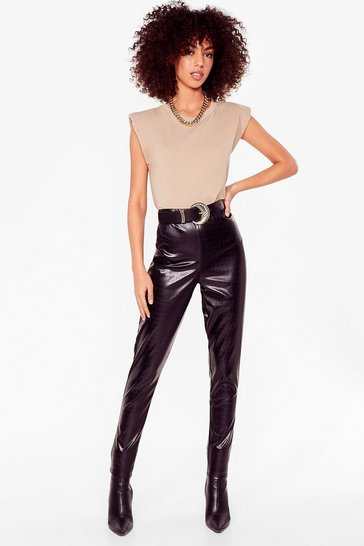 Black What the Croc Faux Leather Leggings