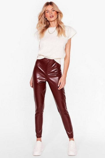 Chocolate What the Croc Faux Leather Leggings