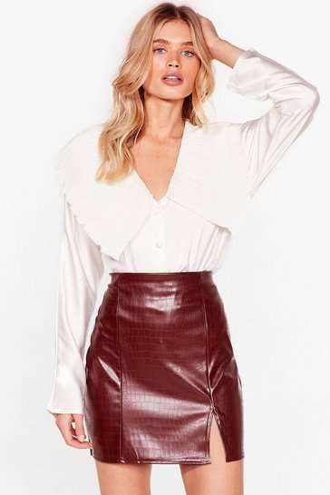 Chocolate Croc 'til You Drop Faux Leather Mini Skirt