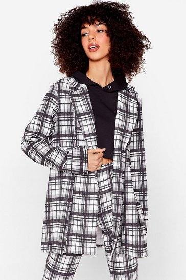 Black Check It Off the List Oversized Blazer