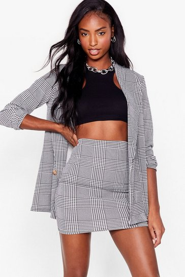 Black Houndstooth Check High Waisted Mini Skirt