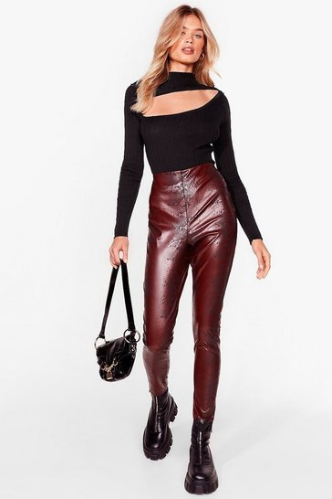 Chocolate Snake Faux Leather Legging